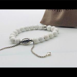 David Yurman White Agate/Silver Bead Bracelet